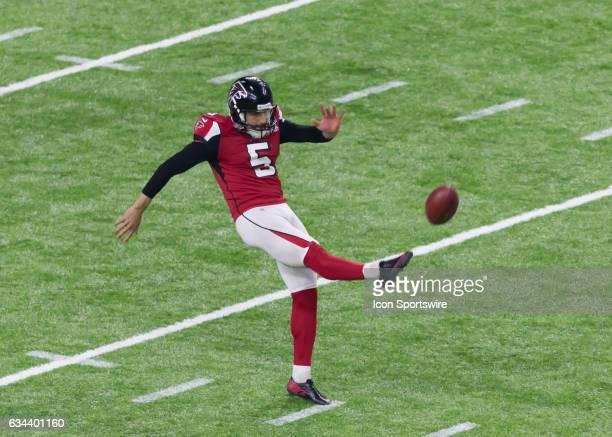Atlanta Falcons punter Matt Bosher kicks the punt return during the Super Bowl LI between the New England Patriots and Atlanta Falcon on February 5,...