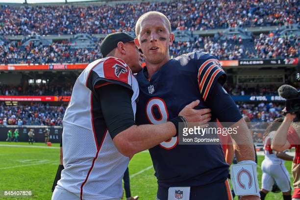 Atlanta Falcons quarterback Matt Ryan and Chicago Bears quarterback Mike Glennon shake hands after an NFL football game between the Atlanta Falcons...