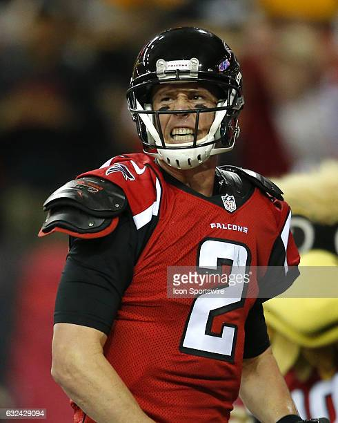 Atlanta Falcons quarterback Matt Ryan reacts after scoring a touchdown in the first half of the NFC Championship game between the Green Bay Packers...