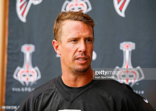 Atlanta Falcons quarterback Matt Ryan speaks after a football practice in Flowery Branch Ga