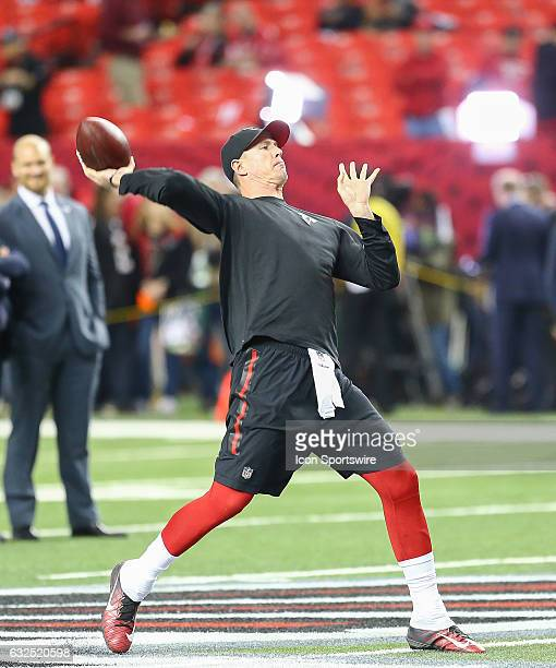 Atlanta Falcons quarterback Matt Ryan throws the ball during warms up of the NFC Championship Game game between the Green Bay Packers and the Atlanta...