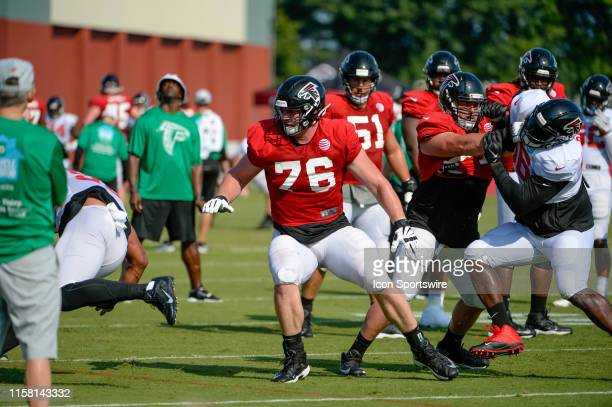 Atlanta Falcons rookie first round draft pick offensive tackle Kaleb McGary during Atlanta Falcons training camp on July 27 at the Atlanta Falcons...