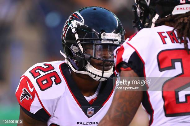 Atlanta Falcons running back Tevin Coleman warms up prior to the preseason National Football League game between the New York Jets and the Atlanta...
