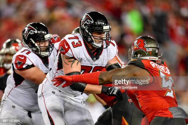 Atlanta Falcons tackle Ryan Schraeder blocks Tampa Bay Buccaneers defensive end Robert Ayers Jr. During an NFL game between the Atlanta Falcons and...