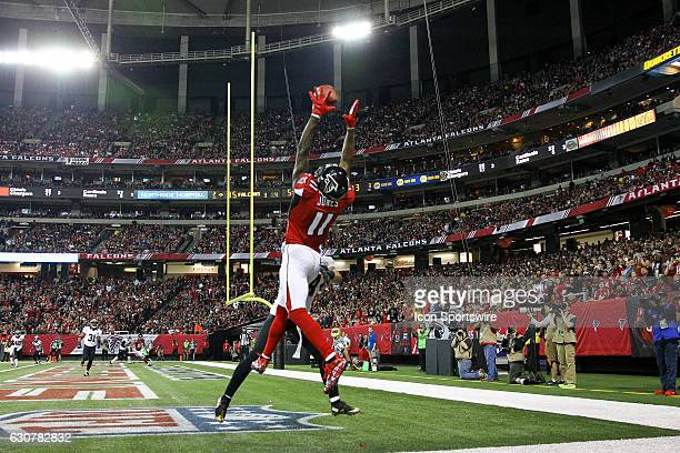 Atlanta Falcons wide receiver Julio Jones goes up to catch a pass during the second half of the NFL game between the New Orleans Saints and the...