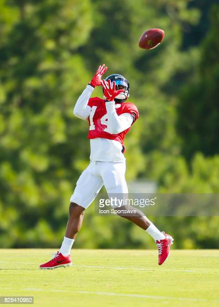 Atlanta Falcons wide receiver Justin Hardy makes a reception during the Atlanta Falcons Training Camp training camp on August 01 2017 in Flowery...