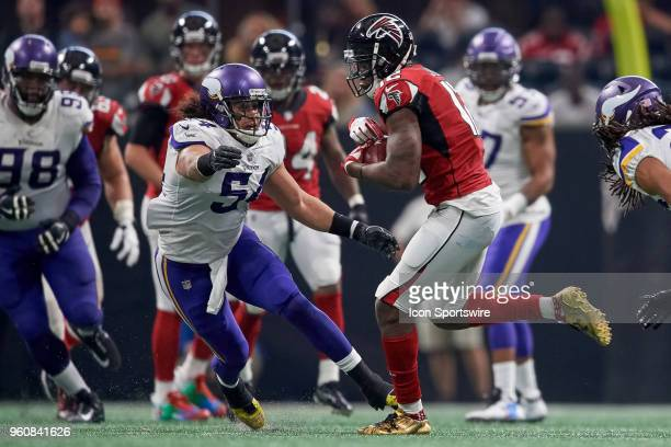 Atlanta Falcons wide receiver Mohamed Sanu battles with Minnesota Vikings linebacker Eric Kendricks during an NFL football game between the Minnesota...
