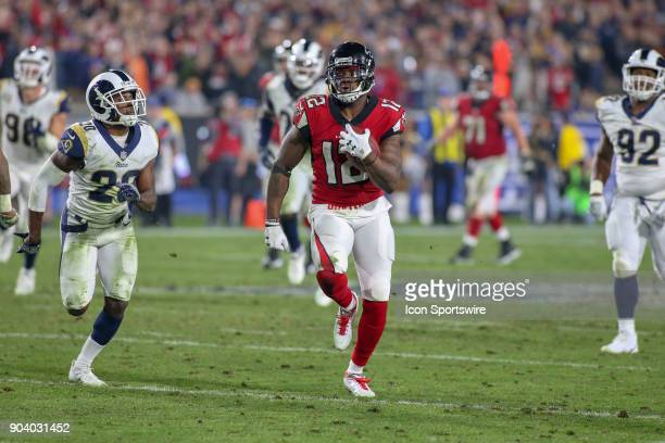 Atlanta Falcons wide receiver Mohamed Sanu catches the ball for a gain during the NFC Wild Card football game between the Atlanta Falcons and the Los...