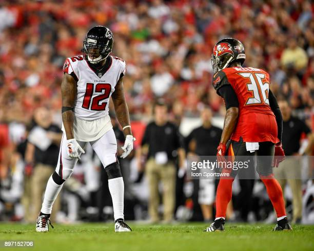 Atlanta Falcons wide receiver Mohamed Sanu is lined up against Tampa Bay Buccaneers cornerback Robert McClain during an NFL game between the Atlanta...