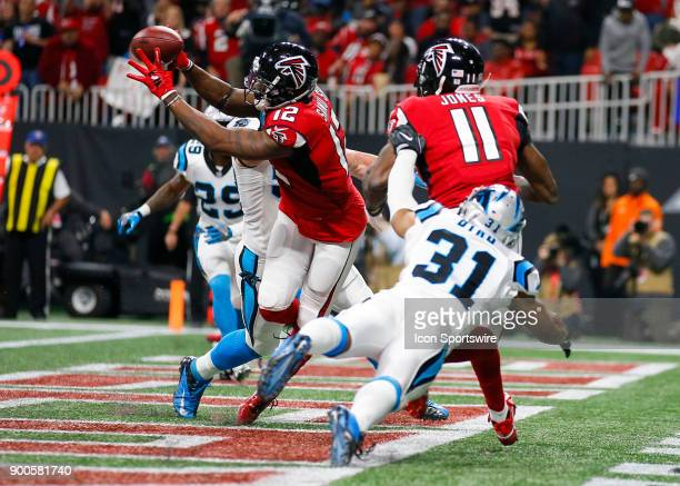 Atlanta Falcons wide receiver Mohamed Sanu pulls in the ball in the end zone but the play is called back due to a penalty during an NFL football game...