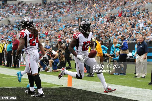 Atlanta Falcons wide receiver Mohamed Sanu scoring a touchdown during 1st half of the Carolina Panthers versus the Atlanta Falcons on November 5 at...
