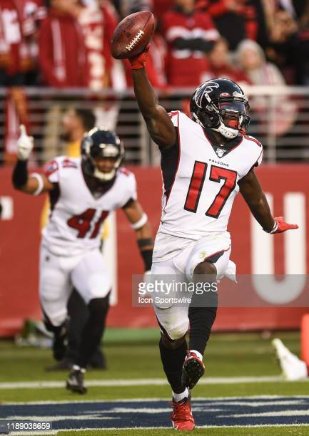 Atlanta Falcons Wide Receiver Olamide Zaccheaus celebrates after scoring a touchdown on a fumble recovery to end the NFL game between the Atlanta...