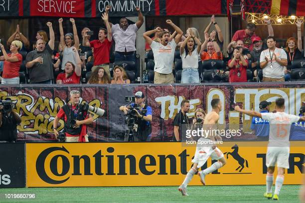 Atlanta fans celebrate a goal by Miguel Almiron during the match between Atlanta United and Columbus Crew on August 19th 2018 at MercedesBenz Stadium...