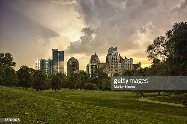 atlanta from piedmont park - atlanta skyline stock pictures, royalty-free photos & images