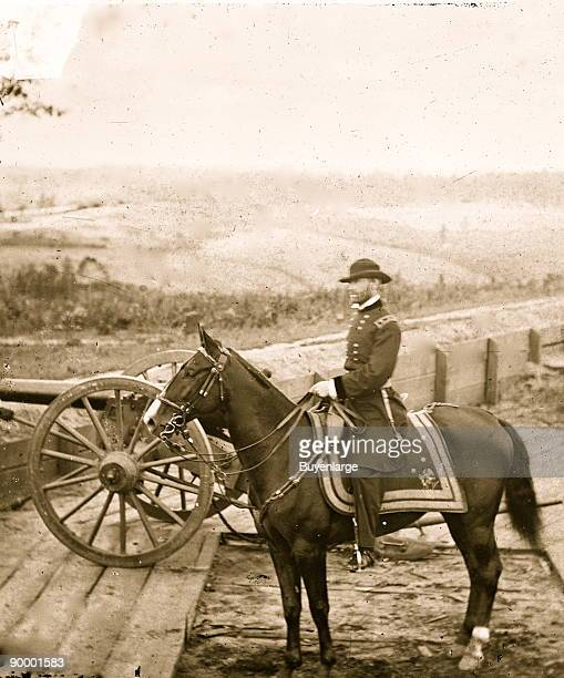 Atlanta Ga Gen William T Sherman on horseback at Federal Fort No 7