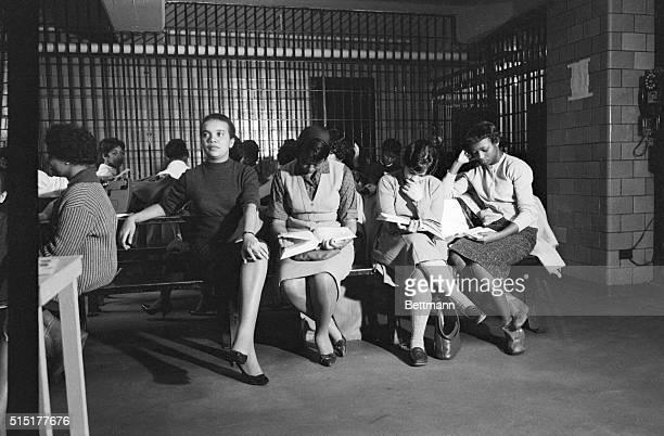 3/15/1960 Atlanta GA Some of the Negro College girls arrested in a citywide wave of restaurant sitdown demonstrations occupy a female detention room...