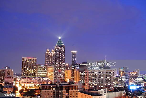 Atlanta, Georgia city skyline at dusk. Taken from a rooftop in midtown.