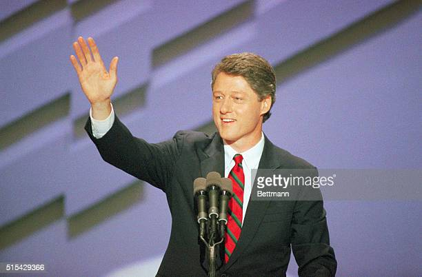 Governor Bill Clinton of Arkansas places the name of Massachusetts governor Michael Dukakis in nomination for president at the Democratic National...