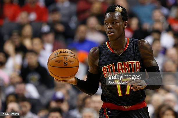 Atlanta Hawks guard Dennis Schroder brings the ball up Toronto Raptors vs Cleveland Cavaliers in 2nd half action of NBA regular season play at Air...