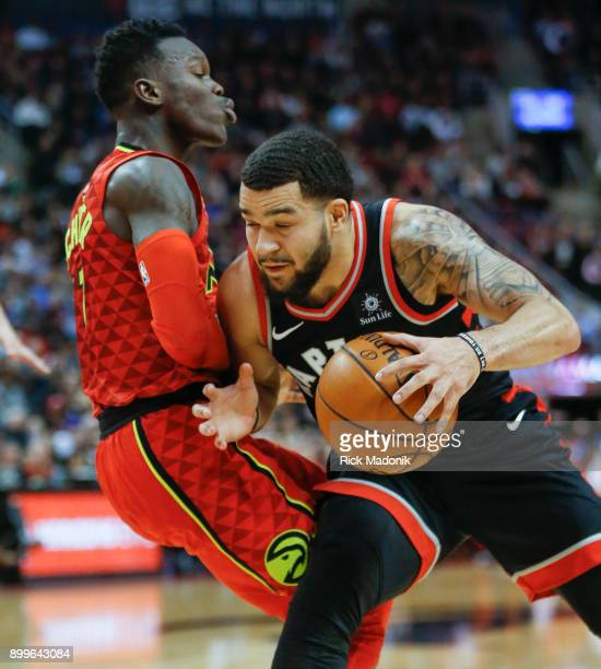 Atlanta Hawks guard Dennis Schroder tries to draw the foul as Toronto Raptors guard Fred VanVleet drives There was no call on the play Toronto...