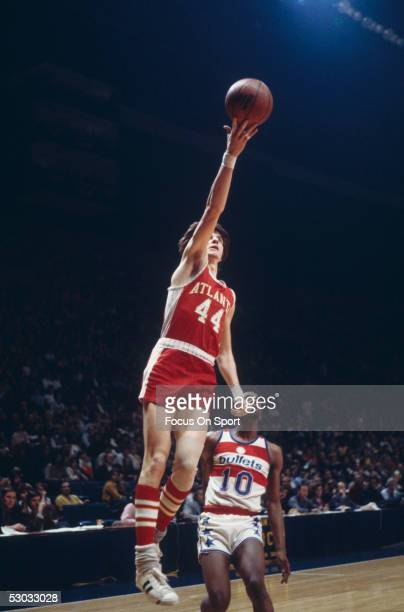 Atlanta Hawks' guard Pete Maravich makes a jumpshot against the Washington Bullets at Capital Centre circa the 1970's in Washington DC NOTE TO USER...