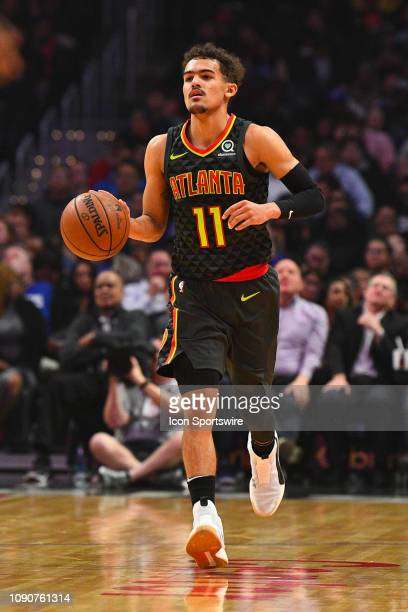 Atlanta Hawks Guard Trae Young brings the ball up the court during a NBA game between the Atlanta Hawks and the Los Angeles Clippers on January 28...