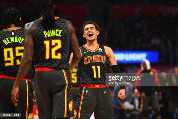 Atlanta Hawks Guard Trae Young reacts to a basket during a NBA game between the Atlanta Hawks and the Los Angeles Clippers on January 28 2019 at...