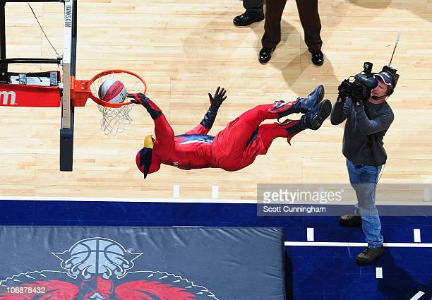 Atlanta Hawks mascot Skyhawk dunks during a timeout in the game against the Minnesota Timberwolves on November 14 2010 at Philips Arena in Atlanta...