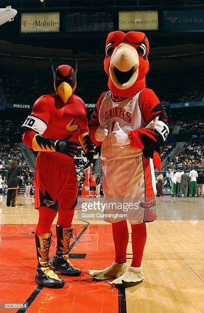 Atlanta Hawks mascots SkyHawk and Harry The Hawk display armbands in honor of The Coyote mascot for the San Antonio Spurs during the Atlanta Hawks...