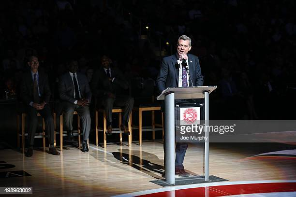 Atlanta Hawks owner Tony Ressler speaks during the Dikembe Mutombo jersey retiring ceremony before the Boston Celtics game against the Atlanta Hawks...
