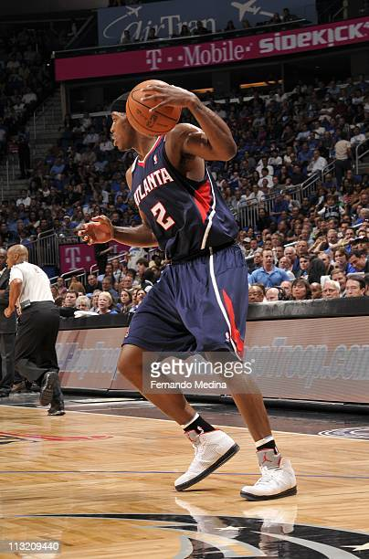 Atlanta Hawks shooting guard Joe Johnson protects the ball during an action against the Orlando Magic in Game Five of the Eastern Conference...