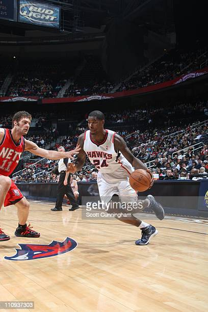 Atlanta Hawks small forward Marvin Williams drives to the basket during the game against the New Jersey Nets on March 26 2011 at Philips Arena in...
