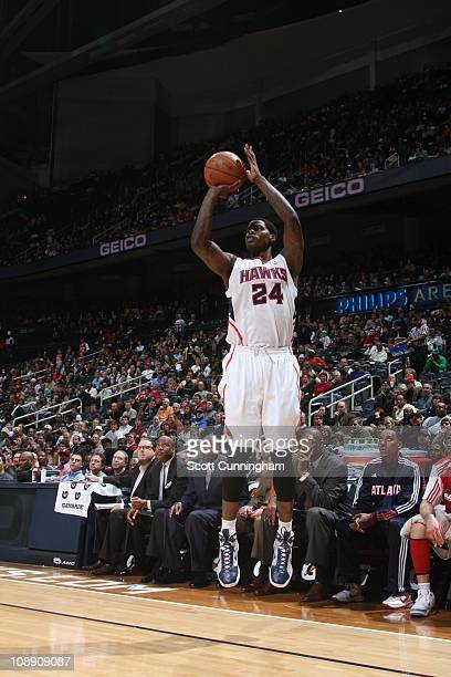 Atlanta Hawks small forward Marvin Williams goes for a jump shot during the game against the Los Angeles Clippers on February 4 2011 at Philips Arena...