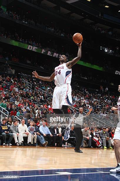 Atlanta Hawks small forward Marvin Williams goes to the basket during the game against the Los Angeles Clippers on February 4 2011 at Philips Arena...