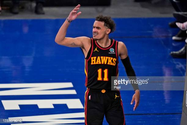 Atlanta Hawks' Trae Young reacts during the second half of Game 1 of an NBA basketball first-round playoff series against the New York Knicks on May...