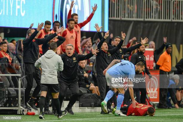 Atlanta head coach Gerardo Martino and the entire Atlanta bench explode after Miguel Almiron was fouled during the MLS Eastern Conference semifinal...