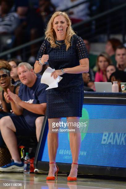 Atlanta head coach Nicki Collen yells rom the sideline during the WNBA game between Atlanta and Seattle on July 22 2018 at Hank McCamish Pavilion in...