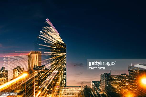 """atlanta lights up the night, abstract within lens zoom effect - """"marilyn nieves"""" stock pictures, royalty-free photos & images"""