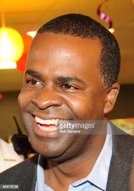 Atlanta Mayor Elect Kasim Reed at a holiday toy drive at Skate Towne with DeVyne Stephens Intervention Jermaine Dupri And V103 on December 20 2009 in...