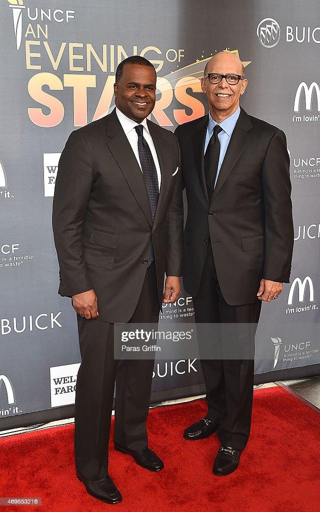 Atlanta mayor Kasim Reed and Dr. Michael Lomax attend the UNCF 'An Evening of Stars' at Boisfeuillet Jones Atlanta Civic Center on April 12, 2015 in Atlanta, Georgia.