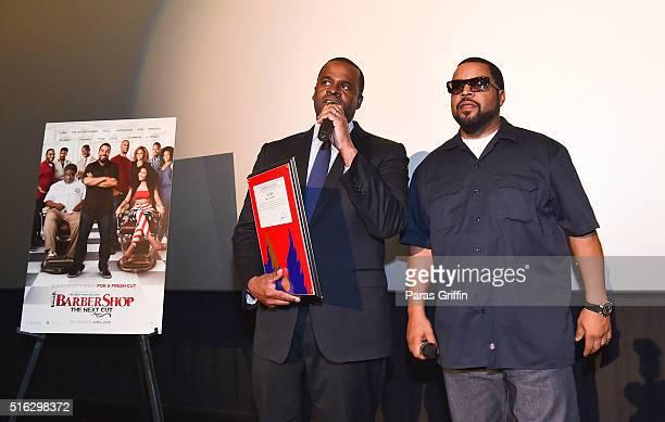 "Atlanta mayor Kasim Reed and Ice Cube attend the ""Barbershop: The Next Cut"" advanced Atlanta VIP screening at Regal Atlantic Station on March 17,..."