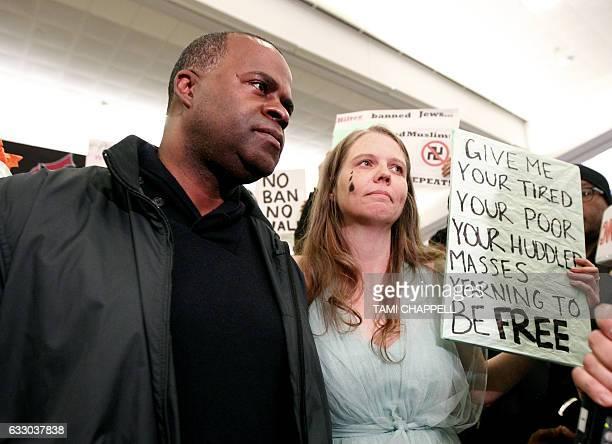 Atlanta Mayor Kasim Reed speaks to protestors which included Britney Copeleand at HartsfieldJackson Atlanta International Airport to denounce US...