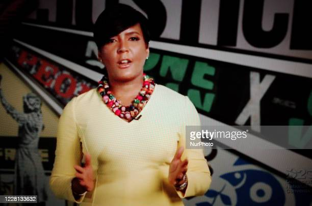 Atlanta Mayor Keisha Lance Bottoms addresses the virtual 2020 Democratic National Convention, livestreamed online and viewed by laptop from the...