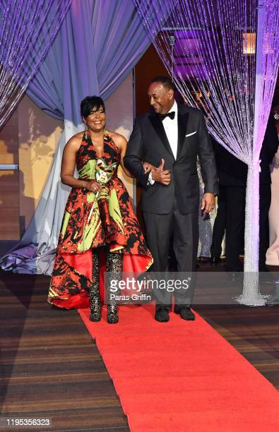 Atlanta Mayor Keisha Lance Bottoms and Derek W Bottoms arrive at 36th Annual Atlanta UNCF Mayor's Masked Ball at Atlanta Marriott Marquis on December...