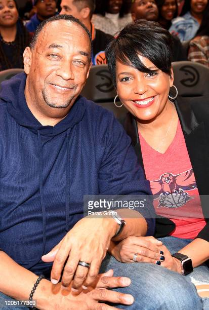 Atlanta Mayor Keisha Lance Bottoms and her husband Derek W Bottoms attend New York Knicks vs Atlanta Hawks game at State Farm Arena on February 09...