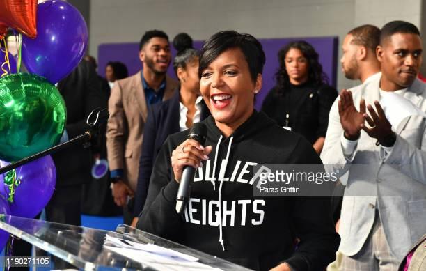 Atlanta Mayor Keisha Lance Bottoms attends TI's 14th Annual Thanksgiving Turkey Giveaway For Atlanta Seniors In Need at CT Martin Natatorium and...