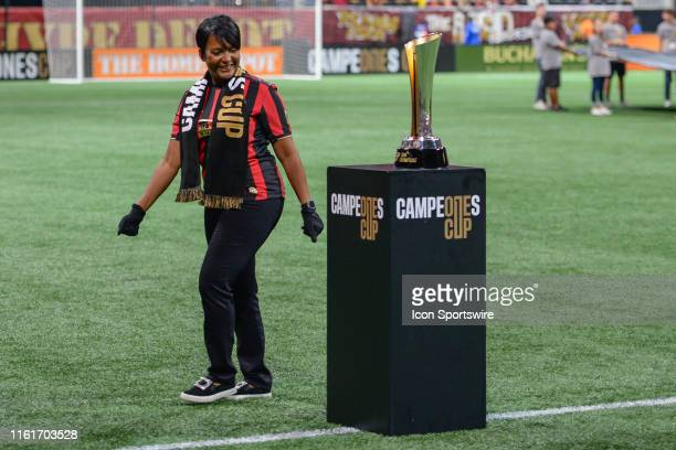 Atlanta mayor Keisha Lance Bottoms places the trophy on the stand prior to the start of the Campeones Cup match between Club America and Atlanta...