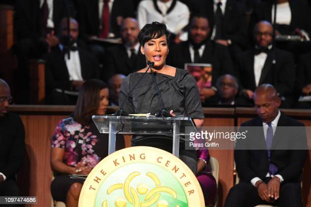 Atlanta Mayor Keisha Lance Bottoms speaks onstage during 2019 Martin Luther King Jr Annual Commemorative Service at Ebenezer Baptist Church on...