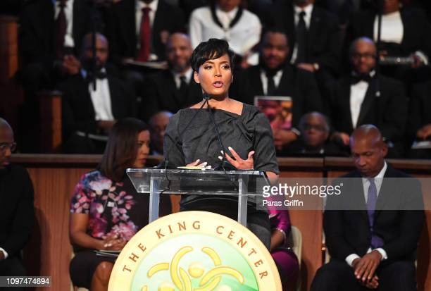 Atlanta Mayor Keisha Lance Bottoms speaks onstage during 2019 Martin Luther King Jr Annual Commemorative Service at Ebenezer Baptist Church on...