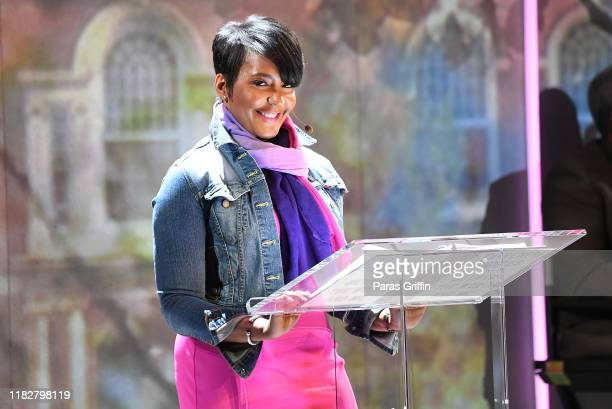 Atlanta Mayor Keisha Lance Bottoms speaks onstage during Between the World and Me Atlanta premiere at Atlanta Symphony Hall on October 22 2019 in...